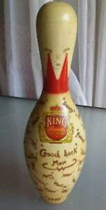 Vintage Brunswick Red Crown Bowling Pin with Signatures, Good Luck Max