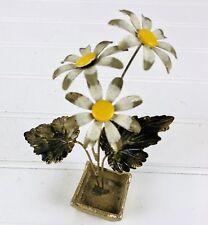 """Vintage Enameled Brass Flower Sculpture Daisies In Vase Miniature 5"""""""