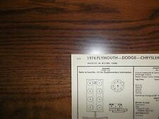 1976 Dodge Plymouth Chrysler Models 318 CI V8 SUN Tune Up Chart Great Condition!