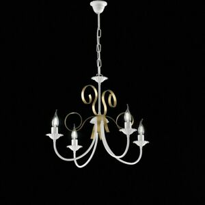 Suspended Lights Wrought Iron Classic White & Gold