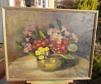 LOVELY BUNCH OF PRIMROSES STILL LIFE OIL PAINTING BY IRENE COHEN (MANCHESTER)