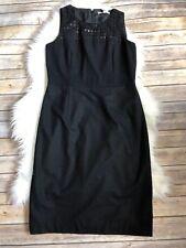 Banana Republic Black Crochet Sequin Detail Wool Sheath Dress  Size 8