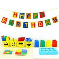 Building Block Theme Birthday party Party toys Cake Insert Set Banner Balloon A