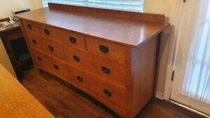 L. & J. G. Stickley, oak, mission style 7 drawer dresser