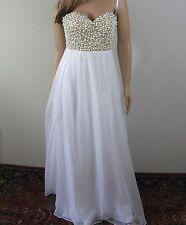 La Femme Pearl Crystal Embellished Bustier Wedding Prom Dress Gown Size 4 NWT