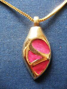 Handmade Pink Enamel Brass Cremation Keepsake Pendant Urn Jewellery Necklace