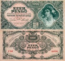 HUNGARY 1,000 Pengo Banknote World Paper Money XF Currency Pick p118a 1945 Bill