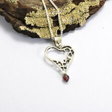 heart sterling silver pendant garnet lace love necklace box chain