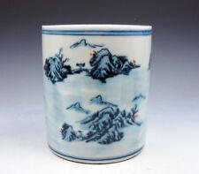 Blue&White Porcelain Mountains Scenery Painted LARGE Brush Holder Pot #07211709