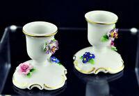 🏵️🌹VON SCHIERHOLZ Porcelain 2 Candle Holders Flowers Dresden Germany Vintage