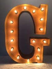 """New Rustic Metal Letter G Light Marquee: Sign Wall Decoration 24"""" Vintage"""