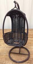 Doll House Wicker Hanging Basket Chair Brown Metal Dollhouse Barbie Sized FUN