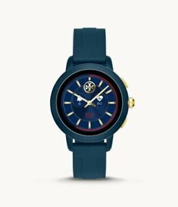 NEW Tory Burch Touchscreen Smartwatch Navy Blue Gold Silicone Watch TBT1002 NIB
