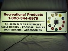 VINTAGE BILLIARDS LIGHTED ADVERTISEMENT CLOCK SIGN ~ RECREATIONAL PRODUCTS