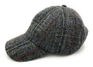 Harris Tweed Grey Check Made in Scotland Baseball Adjustable Cap Unisex