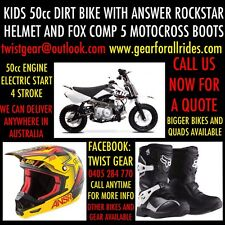 Peewee Jr Kids MX Dirt Bike Motorcycle Rockstar Helmet And Fox Boots.