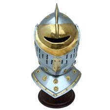 Medieval Jousting Helm's Gates Golden Knight 20 Gauge Steel Decorative Helmet