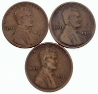 Lot of 3 Lincoln Cents (1910, 1912, 1915)-S in Good+ to Fine Condition