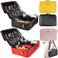 Portable PU Leather Makeup Brush Train Case Travel Cosmetic Organizer Bag Gifts