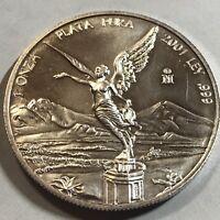 2001 MEXICO  SILVER ONE ONZA LIBERTAD GEM  BRILLIANT UNCIRCULATED COIN
