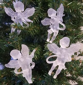 """Set of 4 Frosted Plastic 3-1/2"""" Musical Cherub Angel Craft Christmas Ornaments"""