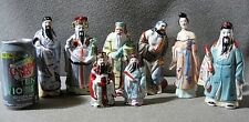 Chinese Vintage Porcelain Immortal Figurines Set of 8 Hand Painted VG Cond.