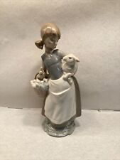 Lladro Figurine Glazed 4835 Girl With Lamb And Basket 9.5Inches
