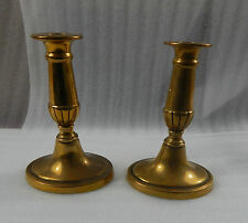 Vintage Classical Style Mid century oval based brass Candlesticks 16cm tall