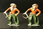 2 Vintage Lead Metal Cowboys Toy Figures - Holding Rope with Chaps & Red Shirt