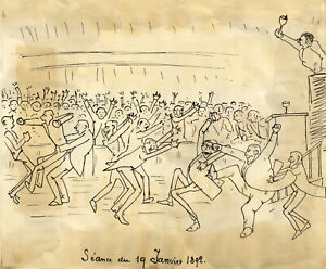 Edouard T. Vieux, Turbulent Parliament of the Third Republic – 1892 ink cartoon