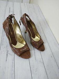 Nine West Studio Size 8 M Brown Leather/Fabric 'Eledenar' Peep toe heels