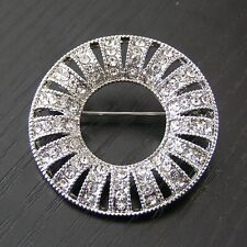 127bf66c2 Silver Plated Crystal Rhinestone Diamante Fashion Round Brooch Broach Pin  Gift