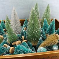 Top 12pcs Mini Sisal Bottle Brush Christmas Trees Snow Frost Village Putz Great