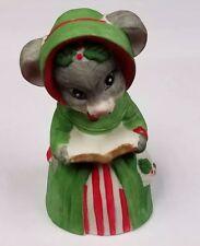 "Christmas Caroler Mouse Porcelain Bell 4"" Jasco Taiwan 4 Holiday"