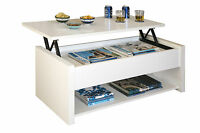 Mesa de centro elevable color blanco con compartimentos de salon comedor