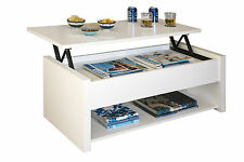 Mesa de centro elevable color blanco con compartimentos de salon comedor
