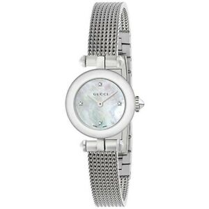 GUCCI YA141504 Diamantissima ladies Iron Mesh Strap Mother Of Pearl Chrono Watch