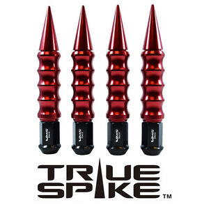 """20 TRUE SPIKE 175MM 1/2"""" STEEL LUG NUTS W/ RED RIBBED SPIKES FOR FORD LINCOLN"""