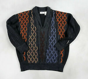Vintage Carlo Colucci Wool Blend Mens Sweater Pullover 50 L Textured Charcoal