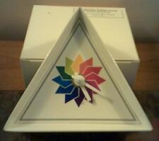 Rare 1995  Albinson Triangle Starburst Rainbow Face Paper Clock Quartz Movement