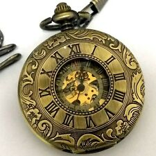 Antique Mechanical Pocket Watch Vintage Skeleton Steampunk Wind up Watches Mens