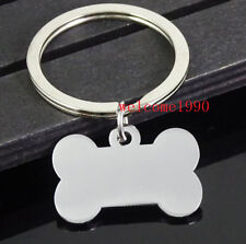 Lot 5pc in bulk Stainless Steel Keychain Accessories 28mm dog tag bone Key Ring