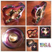 Rainbow Tri Fidget Hand Spinner Stress Reducer ADHD Autism Desk Toy EDC Metal