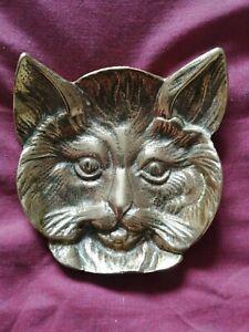 Vintage Brass Cat's Face, Pin dish, Trinket dish