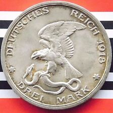 GERMAN Coin 3 Mark 1913 A Empire PRUSSIA 100 YEARS Napoleonic 90% Silver WWI UNC