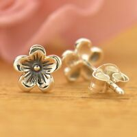 Sterling Silver .925 Tiny Small Cherry Blossom Flower Post Stud Earrings