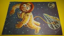 Rare Vtg Spaceship & Asronaut Postcard - Unposted - Made In Israel Eyes Moves