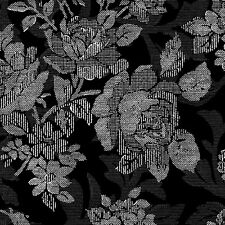 RuRu Bouquet Black Roses Screened on Black, Quilt Gate, Gorgeous! By 1/2 Yard