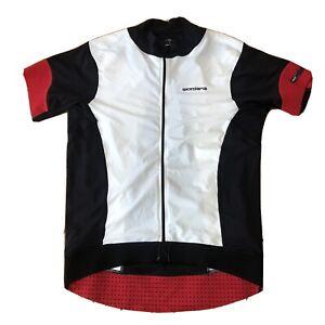 Giordana Men's Large Full Zip Body Clone White Black Red Bike Jersey