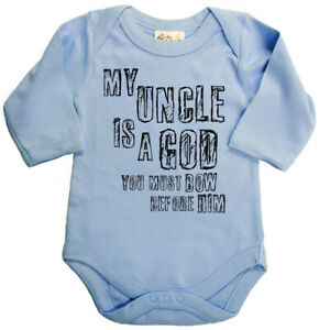 """Baby Long Sleeve Bodysuit """"My Uncle is a God"""" Cute Funny Baby grow Vest Gift"""